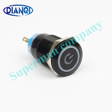 19mm Metal Alumina black press button reset PushButton Switch with Led Power indicator lamp flat button momentary 19HXDY/L,F.BK(China)