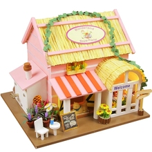 Royal Florist DIY wood doll house Wonderland 3D Miniature Dust cover+Music box+Doll+Lights+Furnitures Home&Store decoration Toy