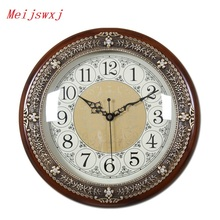 Meijswxj 33CM Wall Clock Saat Reloj Clock Relogio de parede Duvar Saati Horloge Murale Pure copper Solid Wood Living room Clocks