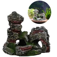 Mountain View Aquarium Rockery Hiding Cave Tree Fish Tank Ornament Decoration(China)