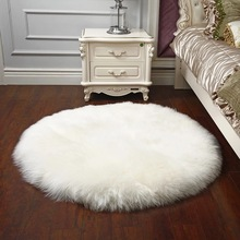 Sheepskin Chair Cover Wool Carpet Chair Cover Bedroom Faux Mat Seat Pad Plain Skin Fur Plain Fluffy Area Rugs Washable(China)
