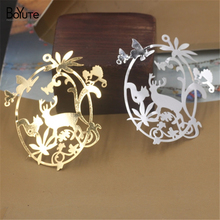 BoYuTe 10Pcs 65*58MM Brass Filigree Enchanted Forest 2 Colors Diy Etched Sheet Pendant Charms for Necklace Jewelry Making