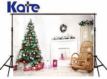 Kate Christmas Photography Backdrop Indoor White House Wood Chair Christmas Tree For Children Photo Background