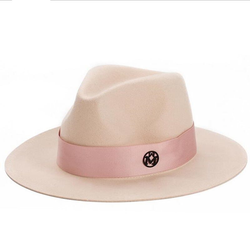 oZyc Ladies pink wool feodra hat winter womens M letter wool Jazz fedoras pink hat for women large brim cowboy panama fedoras (China)