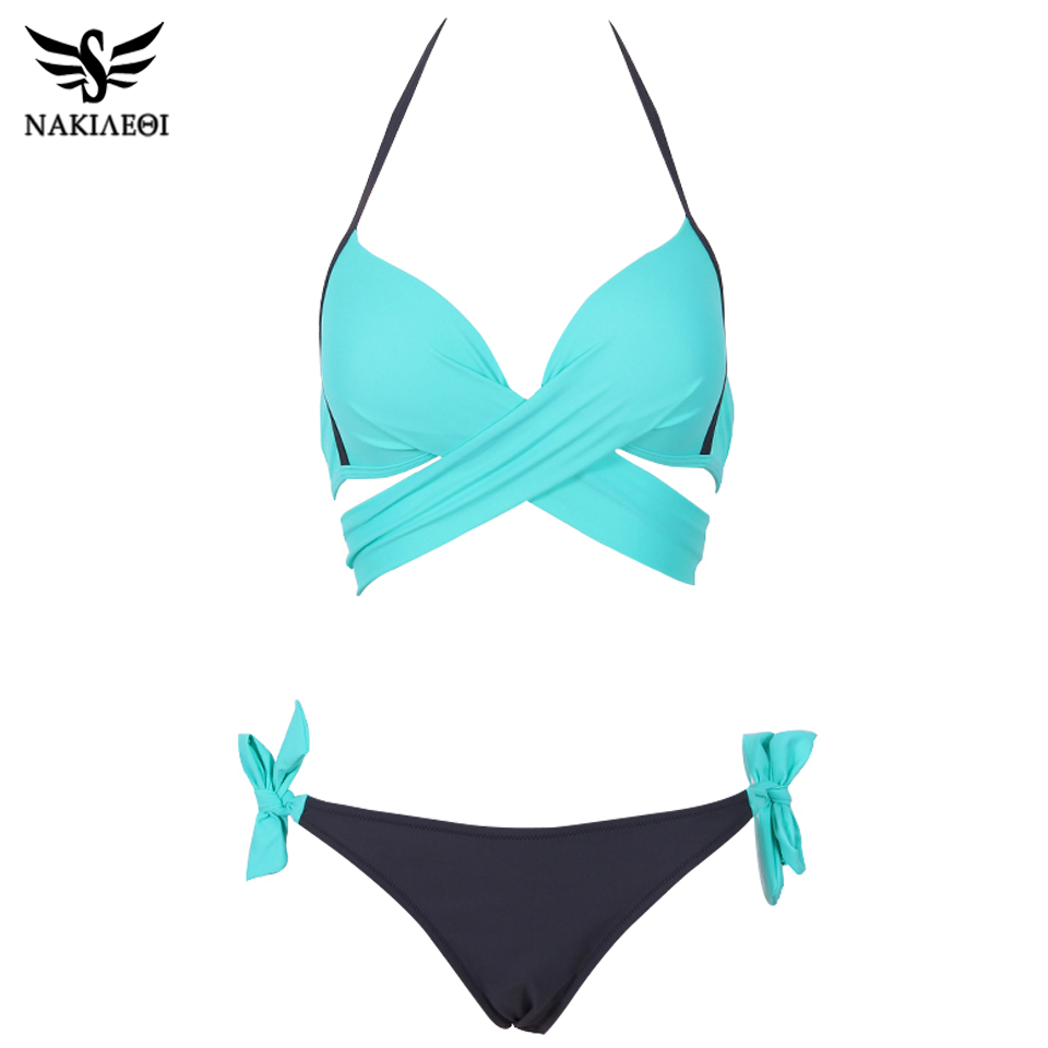 NAKIAEOI 19 Sexy Bikini Women Swimsuit Push Up Swimwear Criss Cross Bandage Halter Bikini Set Beach Bathing Suit Swim Wear XXL 7