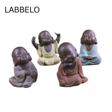 Tea pet Ceramic Lovely Buddha statues Monk Sand Tea Pet High Qulity Purple Tea Pet Tea Set Fitting Hand Decoration(China)