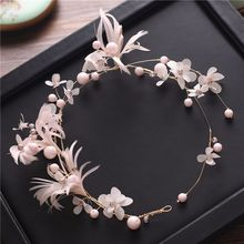 2017 new Korean sweet bride Pink Pearl headdress feathers with flower head hair dress accessories(China)