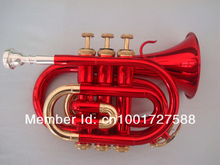 Beautiful RED Gold Bach Bb Pocket Trumpet flugelhorn , professional trumpets mouthpiece trompeta instruments(China)