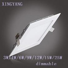 Ultra thin 3W 6W 9W 12W 15W 25W dimmable LED downlight Square LED panel / painel light lamp for bedroom luminaire(China)