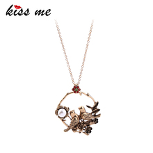 KISS ME Women Long Necklace Antique Gold Color Imitation Pearl Flower Birds Pendant Necklace Vintage Jewelry(China)