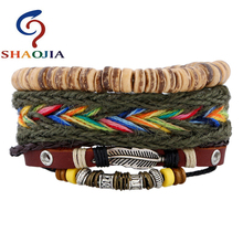 Adjustable Leather Women Multilevel Feather Coconut Shell Beads Bracelets Rope Hand Woven bracelet for women Braided Jewelry Men(China)
