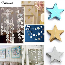 Huxiaomei 10cm Star-shaped Paper Garlands 4M long Bunting Home Wedding Party Banner Hanging Paper Garland Shower Room Door