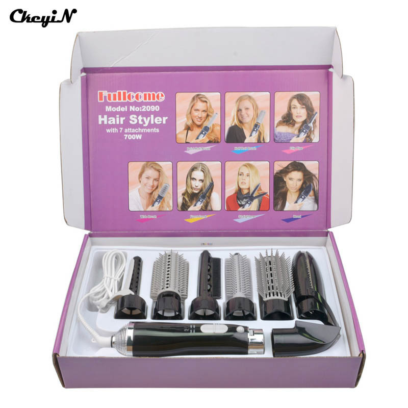 Professional 7-in-1 Multifunctional Anti-static Conical Barrel Shaped Electric Hair Dryer Set/ Hair Styling Brush Comb set  1347<br>