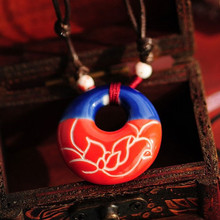 Beautiful Carved Oriental Lotus Charming Blue & Red Ceramics Hollow Necklace Chinese Style Original Porcelain Ethnic Jewelry