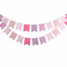 12 Flags 3.5m Pink Five Corner Cotton Fabric Bunting Pennant Flag Banner Garland Birthday/Baby Shower Outdoor Party Decoration