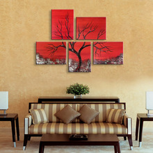 Oil Painting of Abstract Tree Landscape Fashion Red Paintings 5 Panels Set Home Decoration Wall Art Picture 100% Hand Painted