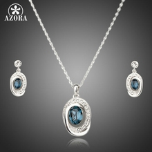 AZORA Dark Blue Water Drop Design White Gold Color Cubic Zircon Stone Earrings and Necklace Set TG0071