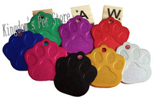 1000pcs/lot cheap wholesale id dog tag pet name tag pendant charm paw print tags for pets cat free shipping 8 colors with stock(China)