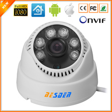 6PCS ARRAY LED Full HD 1080P IP Camera Dome Indoor HI3516C Ultral Low Illumination Sensor WDR Camera CCTV IP ONVIF P2P