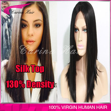 130% density Brazilian Virgin Human Hair Full Lace Wig Silk Top Glueless Lace Front Wigs straight with Silk Base free shipping