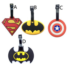 2017 New Batman Superman Captain America Luggage Tags Silicone Girls Suitcase/Handbag Label PVC Marvel Heroes Travel Accessories(China)