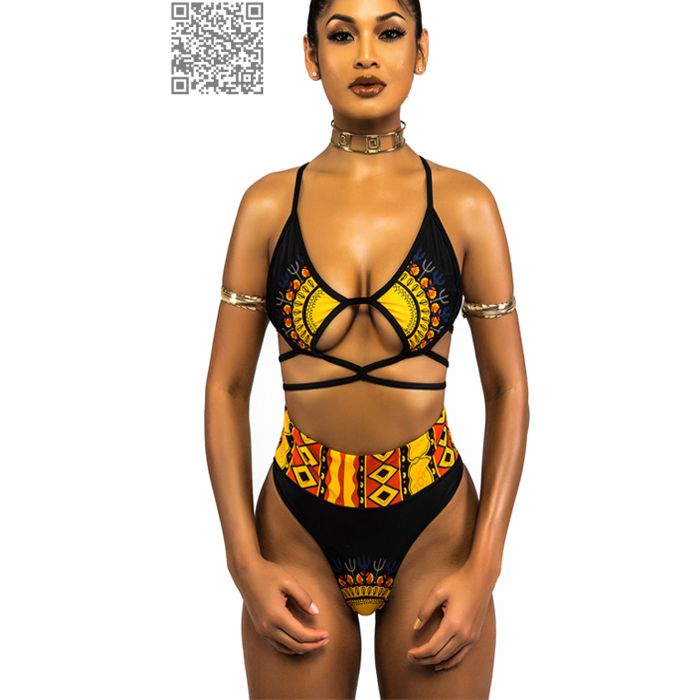 High Cut African Swimwear Women High Waist Bikini Set 17 Trible Print Thong Bikini Retro Bandage Swimsuit Ladies Swim Suit 3