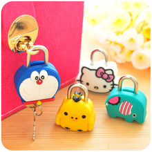 Super Cute Cartoon Mini Silicone Padlock Metal Key Diary Secret Privacy Cabinet Drawer Safety Lock Lovely Presents for Children