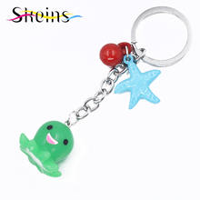Skeins Jewelry Mobile Shell Accessories Charms Cartoon starfish Octopus Keychain Jewelry Women&Kids Bag Accessories 6 Colour