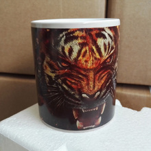 Black Color Changing Mug  Magic Coffee Mugs Ceramic  Sublimation White Cups Printing with Tiger pictures