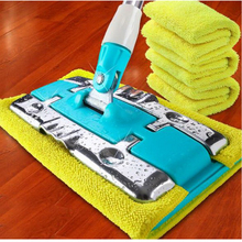 120603/Lazy Hand wash-Free Flat Mop Home Flat Mud / Clamped Wooden Floor Mop / Swing Dump Punch Flat Plate Mop(China)