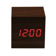 Wooden Clock 2 x AAA/ USB charge spuare Powered Mini LED Digital Desktop Puzzle Alarm Clock Electronic Clocks Desk 60 x60 x60 mm