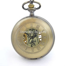 H187 Bronze Tone Men's Skeleton Hollow Case Engraved hand Wind Up Mechanical Pocket Watch W/ Chain New Nice Gift(China)