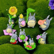9pcs/Set Home Garden Decoration Resin Crafts Mini My Neighbor Totoro Anime Figure DIY Moss Micro Landscape Toys(China)