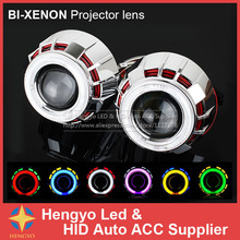 G262 Dual Color CCFL Angel Eyes Projector 35W HID Bi-Xenon Projector Lens Auto HID Conversion Kit For Headlights Free Shipment