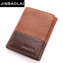 new 3 fold Genuine Leather Men Wallet Small Men Walet Hasp Male Portomonee Short Card Holder Brand Perse Carteira For Men Wallet(China)