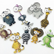 10 pieces/lot Women Men Brooch Pins Acrylic Badges Big Eye Lion Zebra Giraffe Elephant  Animal Brooches Clothes Scarf Jewelry
