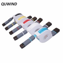 QUWIND 2 in 1 Micro USB Interface 8pin Retractable Charging Data Transfer Cable for Samsung Galaxy S6 S5 Note4 5 iPhone 6 5