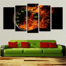 Hot Sell 5 Panels Abstract Oil Painting Wall Art The fire Wall Clock Canvas Pictures For Lving Room Decoration
