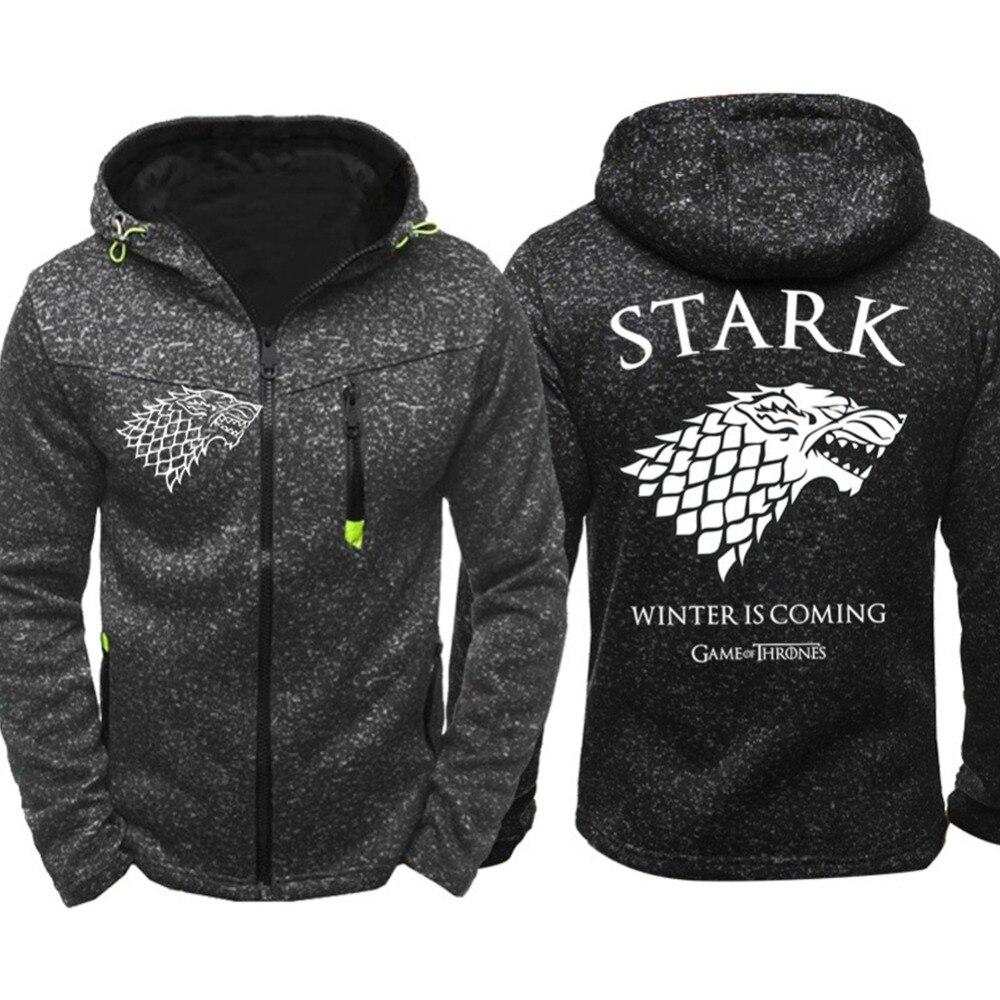 2019 Game of Thrones Hoodie Stark Direwolf Ghost Zipper Jacket Coat Sweatshirt