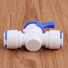 "1/4"" - 1/4"" OD Tube PE Pipe Fitting Hose Straight Backwash Controlled Ball Valve Aquarium RO Water Filter Reverse Osmosis System(China)"