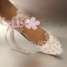 Adults Flats Shoes Wedding Shoes Women shoes White lace pearl diamond table bride round toe wristband shoes large size 41-52