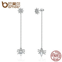 BAMOER New 925 Sterling Silver Ferris Wheel and Spider Push-back Long Drop Earrings For Women Party Fashion Jewelry SCE019(China)