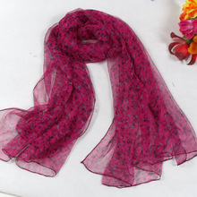 Floral Pattern Women Long Silk Scarf Tippet Printed 180*105cm Fashion Rose Red Brand 100% Pure Silk Shawl For Autumn