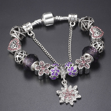 HOMOD Crystalized Snowflake Charm Bracelet for Women With Daisy Beads bracelets & bangles DIY Jewelry Gift