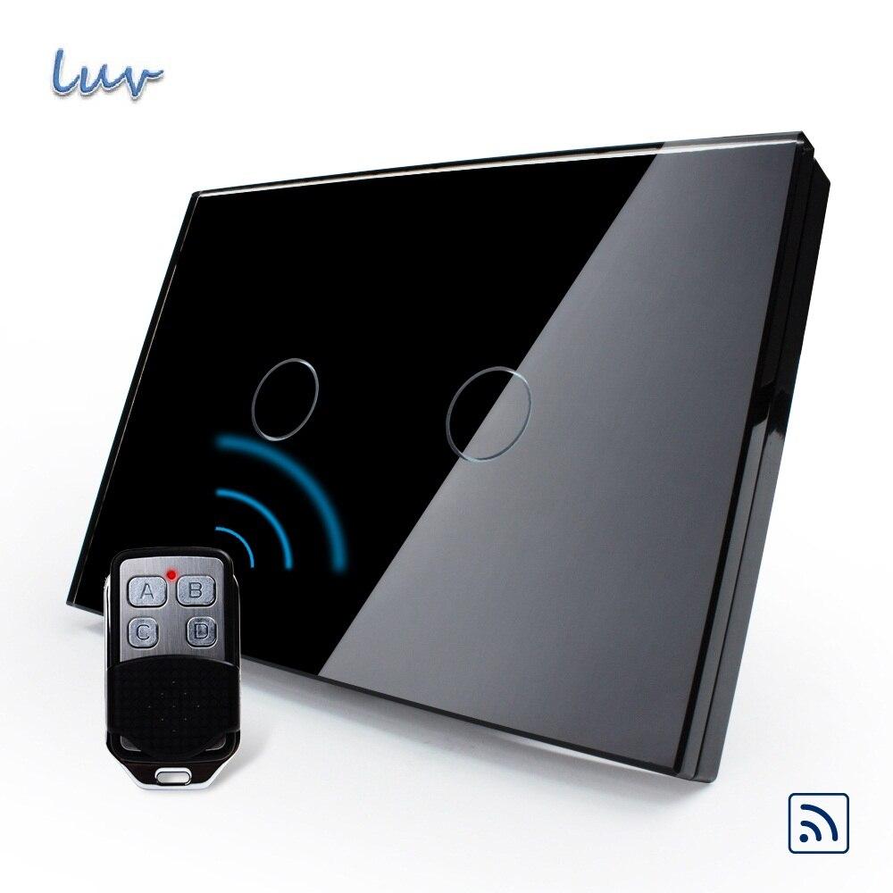 Smart Home, US/AU Standard, VL-C302R-82VL-RMT-02, Waterproof Black Glass 2 Gang 1 Way Switch&amp;Mini Remote for Led Light<br>