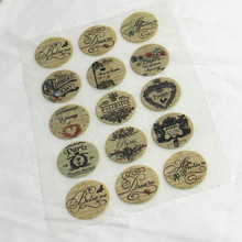 15Pcs Vintage Badge Offset Press Iron-on Patches for Clothing Offset PET Transfer DIY Scrapbooking Materials Patches 2.5x2.5cm
