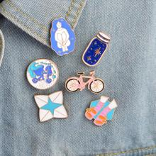 ShuangShuo Cartoon Bike Enamel Pins Wishing Bottle Riding Girl Shoes Origami Game Shoes Brooches for Women Jeans Christmas Gifts(China)