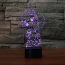 Cute Puppy Dog Rocky Marshall Rubble Chase Skye Action Figures Anime Toys Illusion Lamp Colorful Atmosphere LED Nightlight
