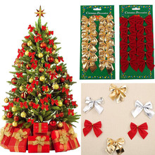 12pcs/pack Pretty Bow Xmas Ornament Christmas Tree Decoration Festival Party Home Bowknots Xmas Happy New Year Decoration 2017(China)