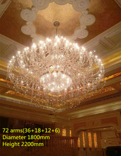 Modern large clear Church Chandeliers 55-72 lights hanging Crystal chandelier light hotel Palace E14/E12 Led lustre life sconce(China)
